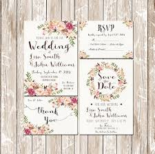 Pink Floral Rustic Water Color Wedding Invitation Kit