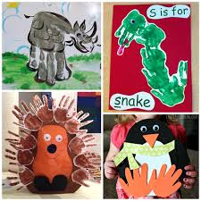 Zoo Animal Hand Print Crafts Art For Kids