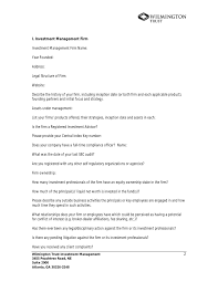 Hedge Fund Manager Questionnaire