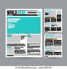 Newspaper Design Template Vector Modern Layout Financial Articles Business
