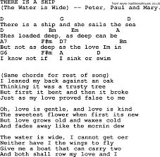 Rockin Around The Christmas Tree Chords Pdf by Peter Paul And Mary Song There Is A Ship The Water Is Wide