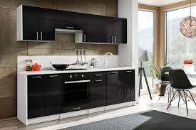 küche schränke küchenzeilen eko 240 cm schwarz hochglanz soft
