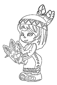 Cute Little Indians Kids Thanksgiving Coloring Pages