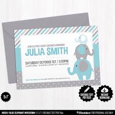 SELF EDITABLE Elephant Baby Shower Invitation Template Blue Elephant Invite Blue And Grey Baby Shower Boy Invitation Printable Digital