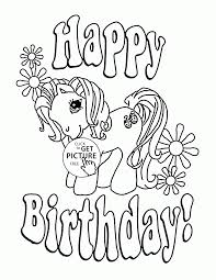 Happy Birthday Printable Coloring Pages My Little Pony Page For Kids Holiday Free