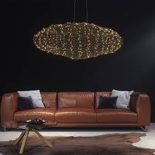 elegante led pendelleuchte l 115 cm gold schwebende wolke inkl led 20 w rund warmweißes licht
