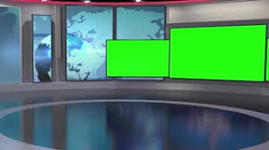 Standing Virtual News Studio Green Screen Background Motion
