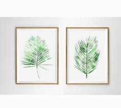 Set Of 2 Fern Art White Green Prints Tropical Wall Watercolor Palm Leaf Decor Botanical Minimalist Print Modern Plants