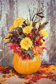 Autumn Pumpkin Flower Arrangement Centerpiece Rustic Background Vintage Filter Effects Stock Photo