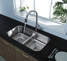 Black Porcelain Undermount Kitchen Sinks With Double Silver Steel