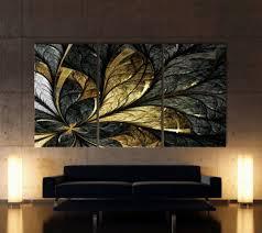 home décor blattgold abstrakt leinwand bilder schwarz weiß