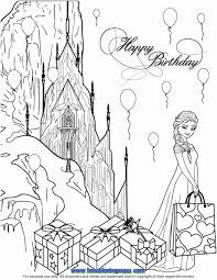Elsa Birthday Party At Ice Castle Coloring Page