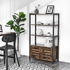 vasagle bücherschrank kommode schrank bücherregal im industrie design mit 3 ablagen 2 lamellentüren wohnzimmer arbeitszimmer schlafzimmer 70 x
