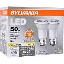 sylvania 2 pack 6 watt 50 w equivalent 3000 kelvins par20 medium