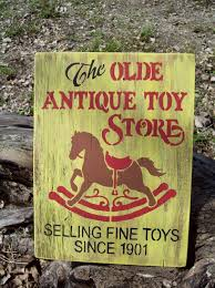 Hand Painted Wood Olde Antique Toy Store Sign Primitive Wall Decor Plaque 1500 Via