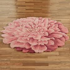 Round Red Bathroom Rug by Deena Blooms Flower Shaped Round Rugs