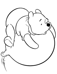 Winnie The Pooh On Flying Balloon Coloring Page