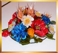 Sugar Art Spring Flower Basket Decoration From Caramel Flowers UK Ideal For Wedding And Any Other Upscale Event As Table Centerpiece Cake Topper Or Gift