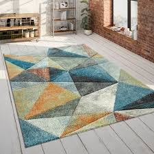wohnzimmer teppich blau orange bunt dreieck muster 3 d look bunt robust kurzflor