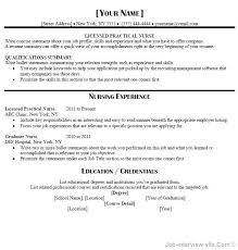 Sample Of Lpn Resume Experience Samples Resumes New Graduates