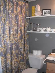 Yellow And Grey Bathroom Window Curtains by Interior Two Tiers Shelves Over Toilet Nearby Dark Grey And