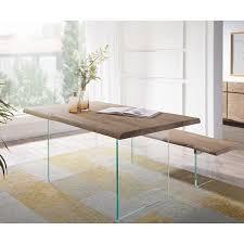 delife esstisch live edge akazie chagner 140x90 platte 5 5 cm glasbeine baumtisch goldfarben glas chagner