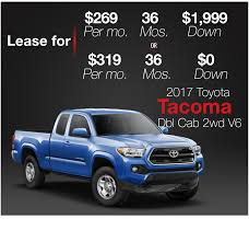 Toyota Truck Lease 2018 Toyota Tacoma Pickup Truck Lease Offers Car Clo Vehicle Specials Faiths Santa Mgarita New For Sale Near Hattiesburg Ms Laurel Deals Toyota Ta A Trd Sport Double Cab 5 Bed V6 42 At Of Leasebusters Canadas 1 Takeover Pioneers 2014 Hilux Business Lease Large Uk Stock Available Haltermans Dealership In East Stroudsburg Pa 18301 Photos And Specs Photo