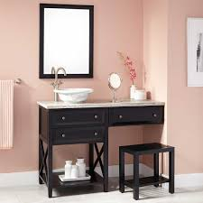 48 glympton vessel sink vanity with makeup area black bathroom