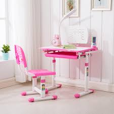 Details About Pink Adjustable Children's Study Desk Chair Set Child Kids  Table With LED Lamp
