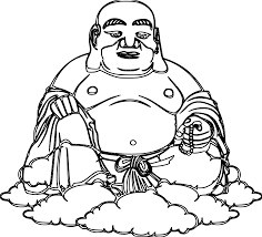 Buda Buddha Black White Line Art Coloring Book Colouring Svg