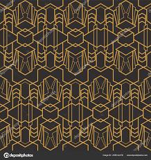 100 Art Deco Shape Seamless Luxury Geometric Pattern Golden Lined Vector