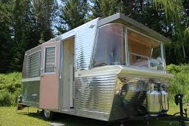 Photo Of The Beautifully Polished Aluminum Ribbed Siding On A 1961 Vintage Holiday House Trailer