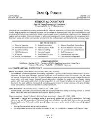 Sample Resume Senior Accountant Professional Accounting Objective