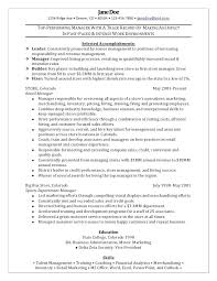 Resume For Retail Stores Manager Sample Summary By Doe Store Supervisor