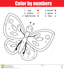 Download Coloring Page With Butterfly Color By Numbers Educational Children Game Drawing Kids Activity