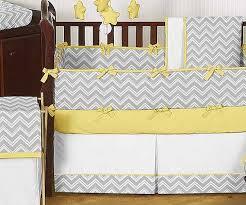 Zig Zag Yellow & Gray Chevron Print Crib Bedding Set Blanket