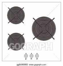 Gas Top Of Kitchen Stove Vector