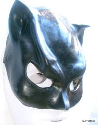 Halloween Half Masks by Black Latex Demon Bat Half Masks