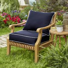 Sunbrella Navy With Ivory Indoor/ Outdoor Chair Cushion And Pillow Set,  Corded | Overstock.com Shopping - The Best Deals On Outdoor Cushions &  Pillows