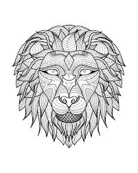Magnificient Lion Head With Little Details To Print And Color