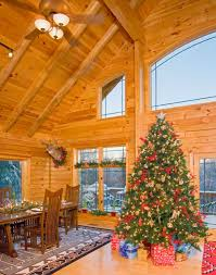 Aesthetic Rustic Cabin Christmas Using Decorative Pine Trees Indoors Alongside Large Patterned Carpet Under High Back Wooden Chair Including Rectangular