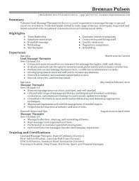 Massage Resume Therapist Sample Therapy Student Examples