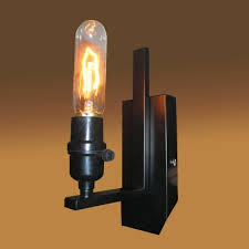 industrial bare edison bulb style wall sconce in black finish up