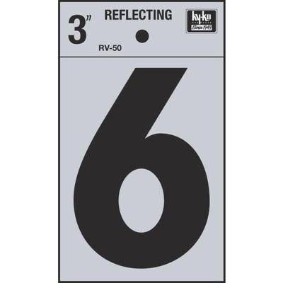 "Hy-Ko Vinyl Reflective Number 6 Self-Stick Adhesive - 3"", Black"