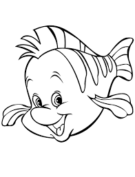 Cute Cartoon Flounder Fish Coloring Page