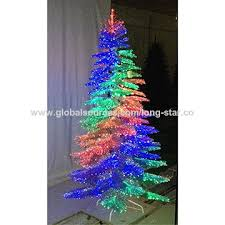 China Silver Tinsel Dancing Fiber Optic Christmas Tree
