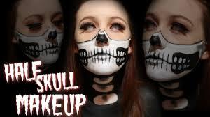Halloween Half Mask Makeup by Halloween Makeup N 17 Half Skull Makeup Youtube