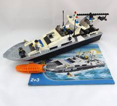 Lego Ship Sinking 3 by Lego City Police Boat 7899 Helicopter 3 Mini Figures