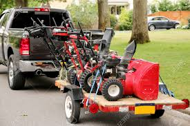 100 Snow Blowers For Trucks Three Blowers On A Trailer Being Towed By A Truck Stock Photo