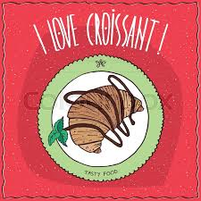 Beautiful Croissant Drizzled With Chocolate Lie On The Plate Top View Red Background Handmade Cartoon Style
